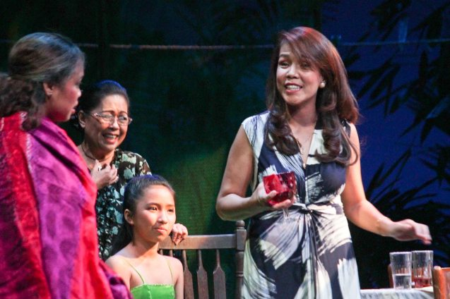 from left: Carol Bello (Auntie Lili), Peewee O'Hara (Yaya Naty), Kyrie Samodio (Topaz), & Irma Adlawan (Leda Santos). Kanakan Balintagos' MGA BUHAY NA APOY will run from Oct 2-25, 2015. The TANGHALANG PILIPINO production can be seen at the Tanghalang Aurelio Tolentino of the Cultural Center of the Philippines. Photo by Jude Bautista