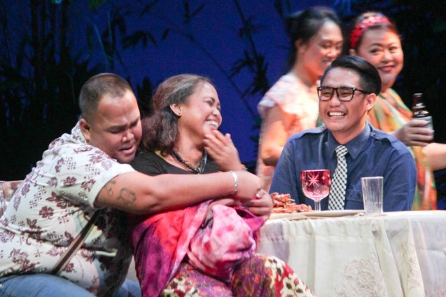 Jonathan Tadioan (Kuya Benj) cuddles up Carol Bello (Auntie Lili); Kanakan Balintagos' MGA BUHAY NA APOY will run from Oct 2-25, 2015. The TANGHALANG PILIPINO production can be seen at the Tanghalang Aurelio Tolentino of the Cultural Center of the Philippines. Photo by Jude Bautista