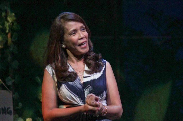 Irma Adlawan (Leda Santos); Kanakan Balintagos' MGA BUHAY NA APOY will run from Oct 2-25, 2015. The TANGHALANG PILIPINO production can be seen at the Tanghalang Aurelio Tolentino of the Cultural Center of the Philippines. Photo by Jude Bautista