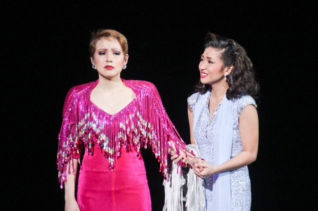 from left: Cris Villonco (Lavinia Arguelles) & Monica Cuenco (Dorina Pineda). BITUING WALANG NINGNING is running at the Newport Performing Arts Theater, Resorts World Manila from October 8, 2015 to January 2016. Photo by Jude Bautista