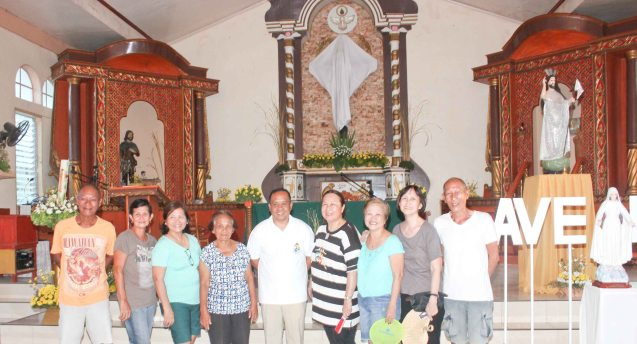 from left: Jun Montenegro, Annie Puyo, Rose Lizo, TeliGomez, Rev. Fr. Pablito D. Bendibil Jr., Erlinda Bautista, Nanette Montenegro, Beth Javier and Goody Montenegro; Claveria, Burias-May 18, 2015. Photo by Jude Bautista