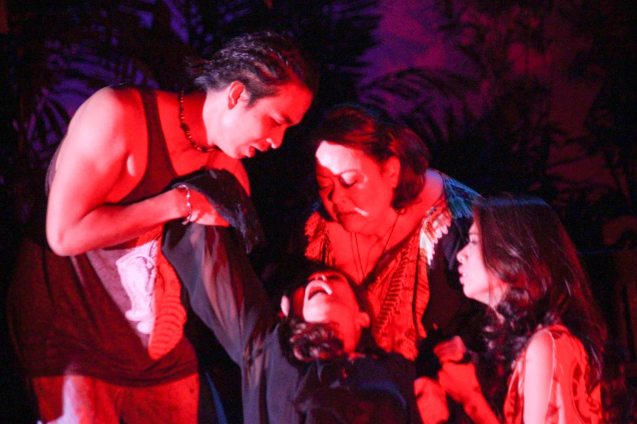 Even cast members find themselves captivated by Irma Adlawan's (Leda Santos) performance. Kanakan Balintagos' MGA BUHAY NA APOY will run from Oct 2-25, 2015. The TANGHALANG PILIPINO production can be seen at the Tanghalang Aurelio Tolentino of the Cultural Center of the Philippines. Photo by Jude Bautista