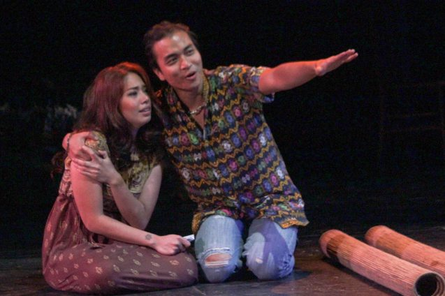Russel Legaspi (Aran) and Karen Gaerlan (Aurora Alba); Kanakan Balintagos' MGA BUHAY NA APOY will run from Oct 2-25, 2015. The TANGHALANG PILIPINO production can be seen at the Tanghalang Aurelio Tolentino of the Cultural Center of the Philippines. Photo by Jude Bautista