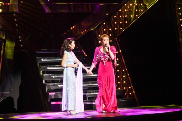 from left: Monica Cuenco (Dorina Pineda) & Cris Villonco (Lavinia Arguelles). BITUING WALANG NINGNING is running at the Newport Performing Arts Theater, Resorts World Manila from October 8, 2015 to January 2016. Photo by Jude Bautista