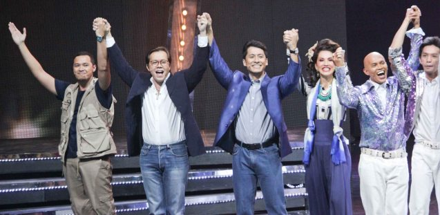 from left: Mak Alonso, Michael Stuart Williams, Jay Roa, Menchu L Yulo, Dino Divinagracia and Edz Bordamonte. BITUING WALANG NINGNING is running at the Newport Performing Arts Theater, Resorts World Manila from October 8, 2015 to January 2016. Photo by Jude Bautista