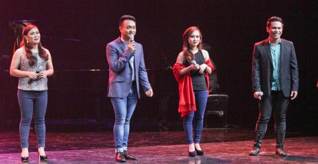 from left: Natasha Cabrera, Nar Cabico, KL Dizon & Joshua Cabiladas; DEMENTED, DELIGHTFUL, DERANGED DE JESUS is part of the TRIPLE THREATS series. It was held last September 24, 2015 at the CCP's Tanghalang Aurelio Tolentino. Photo by Jude Bautista
