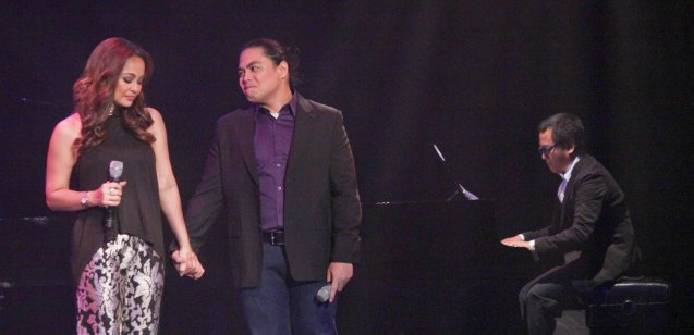 from left: Eula Valdes, Red Concepcion and musical director Jed Balsamo. DEMENTED, DELIGHTFUL, DERANGED DE JESUS is part of the TRIPLE THREATS series. It was held last September 24, 2015 at the CCP's Tanghalang Aurelio Tolentino. Photo by Jude Bautista
