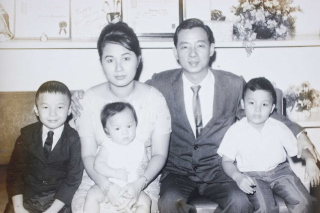 Joe & Linda Bautista w 3 young sons from left Tim, Noel & Donald-1967.