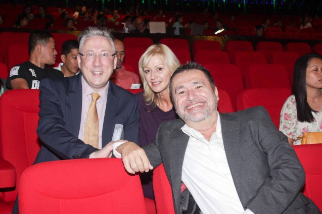 from left: RWM CEO & VP for Entertainment Colin Kerr, RWM Creative Technical Dir Sviatlana Burkun and Priscilla Director Jaime Del Mundo. BITUING WALANG NINGNING is running at the Newport Performing Arts Theater, Resorts World Manila from October 8, 2015 to January 2016. Photo by Jude Bautista