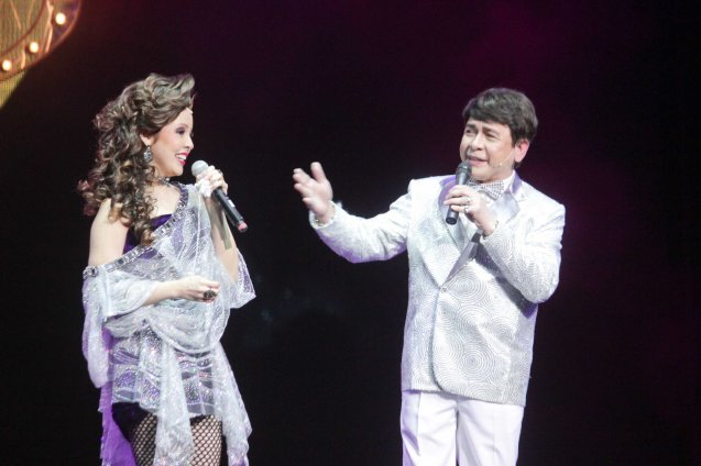 Cris Villonco (Lavinia Arguelles) & John Nite (German Moreno). BITUING WALANG NINGNING is running at the Newport Performing Arts Theater, Resorts World Manila from October 8, 2015 to January 2016. Photo by Jude Bautista