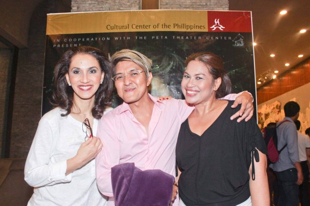 from left: Menchu Lauchengco Yulo, Composer Vincent De Jesus and May Bayot. Photo was taken during TRIPLE THREATS series of Vincent De Jesus' DEMENTED, DELIGHTFUL, DERANGED DEJESUS last September 24, 2015 at the Tanghalang Aurelio Tolentino, CCP. Photo by Jude Bautista