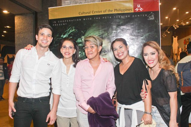 from left: Markki Stroem, Menchu Lauchengco Yulo, Vincent De Jesus, May Bayot & Sweet Plantado Tiongson. DEMENTED, DELIGHTFUL, DERANGED DE JESUS is part of the TRIPLE THREATS series. It was held last September 24, 2015 at the CCP's Tanghalang Aurelio Tolentino. Photo by Jude Bautista