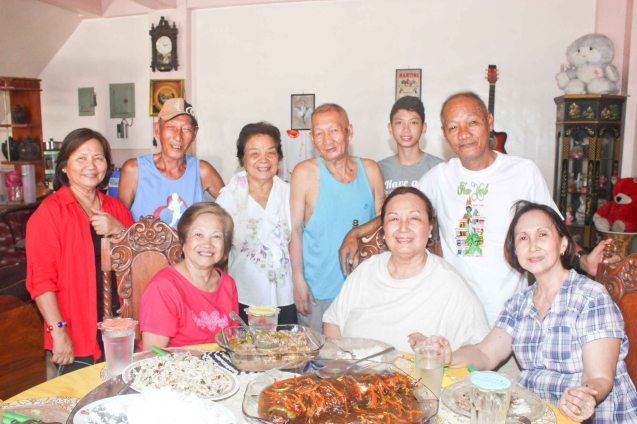 Welcome back meal standing from left: Rose Lizo, Goody Montenegro, Peng & Lando Montenegro, JR Montenegro, Jun Montenegro seated from left Nanette Montenegro, Linda Bautista & Beth Javier; Claveria, Burias island -May 17, 2015. Photo by Jude Bautista