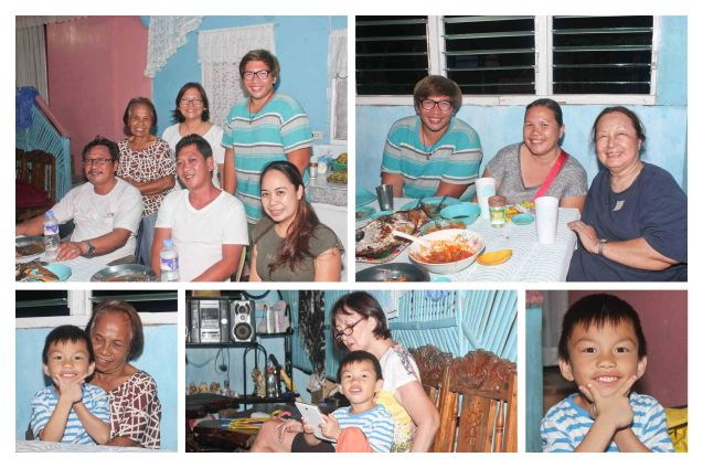 top left pic from left seated: Lupe Gulpan, Coy & Lira Perez, standing from left: Teli Gomez, Rose Lizo and John Leo Gulpan, right photo from right: Linda Bautista, Tasing Gulpan and John Leo Gulpan. Bottom: precocious Miguel Leandro (Iggy) G. Gulpan. Claveria, Burias-May 19, 2015. Photo by Jude Bautista