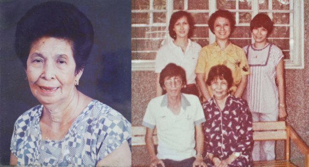 left: Manuela Gomez Leso, Manay Vita to her townmates. Right photo with brood standing from right: Ami, Linda and Beth, seated with P.D (early 80s)