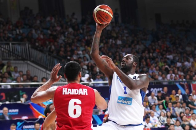 Andray Blatche keeps composure to score in crucial moments. SMART GILAS Pilipinas won against Lebanon 82-70, October 1, 2015 at the Changsha Social Work College, Chang Sha, China. Photo from FIBA.com.
