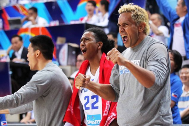 from right Asi Taulava & Ganuelas cheer team mates. SMART GILAS Pilipinas won against Lebanon 82-70, October 1, 2015 at the Changsha Social Work College, Chang Sha, China. Photo from FIBA.com.