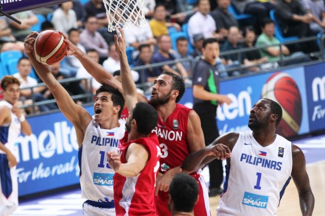 Marc Pingris is stymied by Lebanon's defense. SMART GILAS Pilipinas won against Lebanon 82-70, October 1, 2015 at the Changsha Social Work College, Chang Sha, China. Photo from FIBA.com.