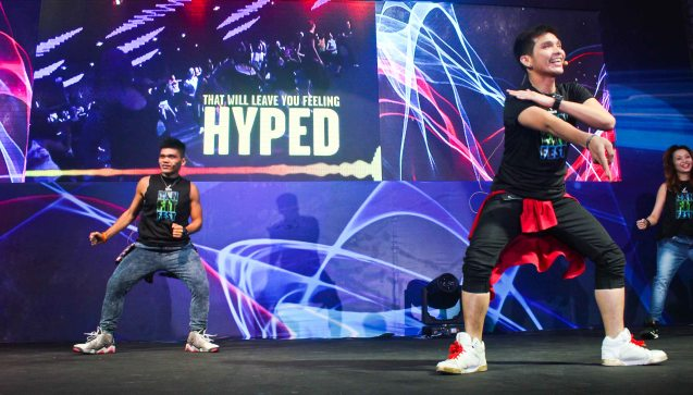 Fitness first instructors from right: Andre Sunga and Rej Garcia. RXN FIT FEST was held at the SMX Convention Center last Nov 14, 2015. Photo by Jude Bautista