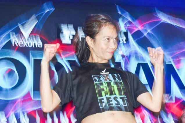 TV5 Edit Supervisor & Fitness First Instructor Jing Ventura. RXN FIT FEST was held at the SMX Convention Center last Nov 14, 2015. Photo by Jude Bautista