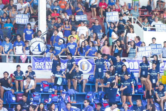 ADMU fans came all the way from Katipunan and outnumbered La Sallians in their own backyard at the Rizal Memorial Swimming Complex. Photo was taken October 24, 2015 during 78th UAAP Swimming competitions by Jude Bautista.