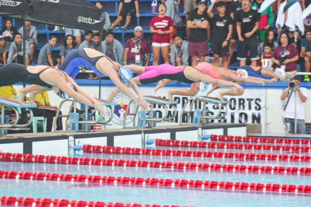 Women's 200m freestyle; Photo was taken October 24, 2015 during 78th UAAP Swimming competitions at the Rizal Memorial Swimming Complex. Photo by Jude Bautista