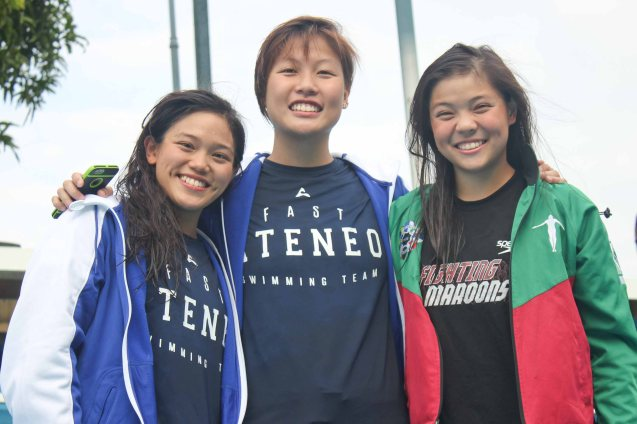 Women's 200m freestyle center- Gold medalist Kim Uy (ADMU), left- Silver Medalist Ariana Herranz (ADMU) and right- bronze medalist Winona Tee Ten (UP). Photo was taken October 24, 2015 during 78th UAAP Swimming competitions at the Rizal Memorial Swimming Complex. Photo by Jude Bautista