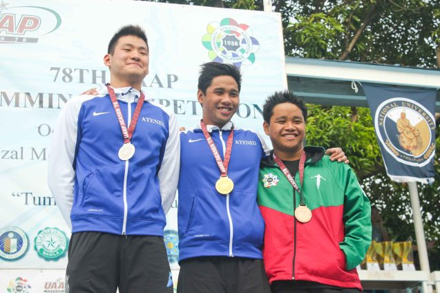 Men's 200m freestyle center-gold medalist Jessie Khing Lacuna(ADMU), left- Silver medalist Axel Ngui (ADMU) and right bronze medalist Dexter John Lacuna (UP). Photo was taken October 24, 2015 during 78th UAAP Swimming competitions at the Rizal Memorial Swimming Complex. Photo by Jude Bautista