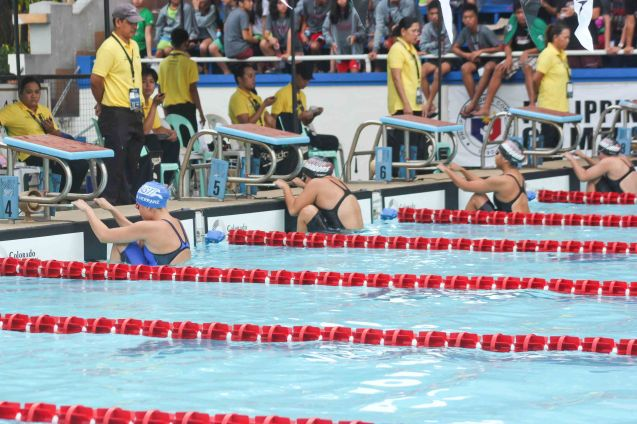 women's backstroke; Photo was taken October 24, 2015 during 78th UAAP Swimming competitions at the Rizal Memorial Swimming Complex. Photo by Jude Bautista