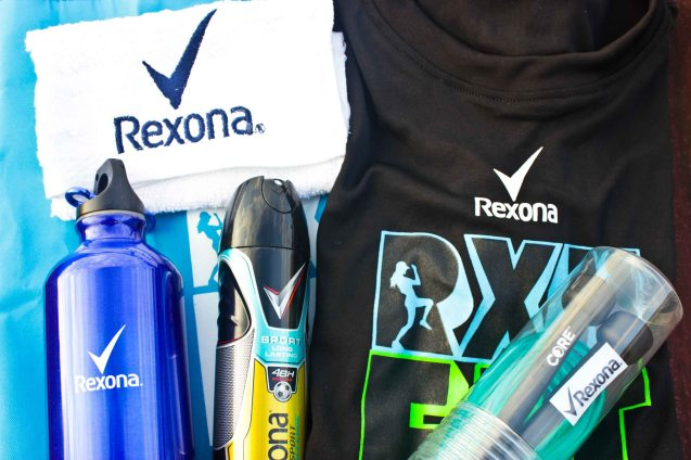 The coveted RXN Fit fest kit (contained in a light and hip gym bag): clockwise from top left-Rexona gym towel, gym shirt, CORE Speed Rope, Rexona Sport 48H body spray and Water bottle. RXN FIT FEST was held at the SMX Convention Center last Nov 14, 2015. Photo by Jude Bautista