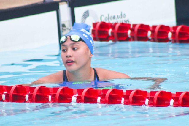 ADMU's Hannah Dato is in a league of her own. Photo was taken October 24, 2015 during 78th UAAP Swimming competitions at the Rizal Memorial Swimming Complex. Photo by Jude Bautista