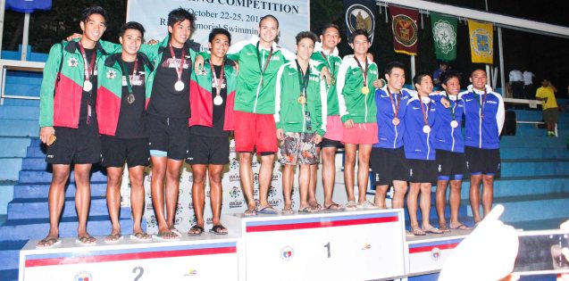 Men's 200m Freestyle relay center-gold DLSU Alfonso Bautista, Troy Espiritu, Red Silvestre and Miggy Narciso, left-silver UP Lans Donato, Alfred Rojo, Rafael Agtarap, Christen Mercado and right-bronze ADMU Brandon Sing, Paolo Mutuc, Justin Sy and Alberto Batungbacal. Photo was taken October 24, 2015 during 78th UAAP Swimming competitions at the Rizal Memorial Swimming Complex. Photo by Jude Bautista