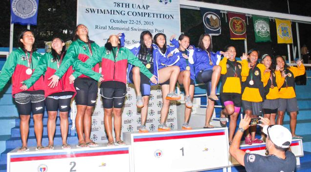 Women's 200m Freestyle relay center-gold ADMU, left-silver UP and right-bronze UST. Photo was taken October 24, 2015 during 78th UAAP Swimming competitions at the Rizal Memorial Swimming Complex. Photo by Jude Bautista