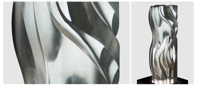 GRACEFUL UNDULATIONS (67 x 25 x 25cm) Carved Clear optical glass 2015; left is cropped photo. CLEAR IMPRESSIONS: AN EXHIBIT OF RECENT CLEAR OPTICAL GLASS runs at the Reflections Gallery, Museo Orlina from November 30, 2015 to January 16, 2016. Contributed photo.