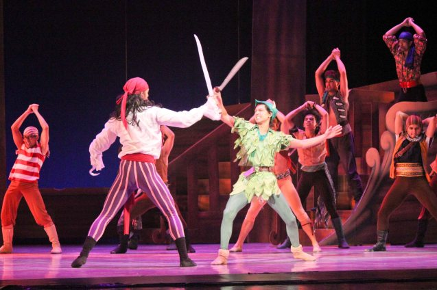 Garry Corpuz (Captain Hook) & Jean Marc Cordero (Peter Pan's) Battle scene. Ballet Philippines' Peter Pan runs from December 4-13, 2015 at the Tanghalang Nicanor Abelardo of the CCP. Photo by Jude Bautista