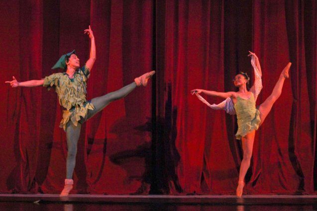 Jean Marc Cordero (Peter Pan) & Janine Myrtel Arisola (Tinkerbell). Ballet Philippines' Peter Pan runs from December 4-13, 2015 at the Tanghalang Nicanor Abelardo of the CCP. Photo by Jude Bautista