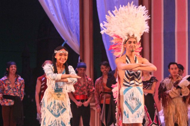 Katrene San Miguel (Tiger Liliy) and Eugene Obille (Indian Chief); Ballet Philippines' Peter Pan runs from December 4-13, 2015 at the Tanghalang Nicanor Abelardo of the CCP. Photo by Jude Bautista