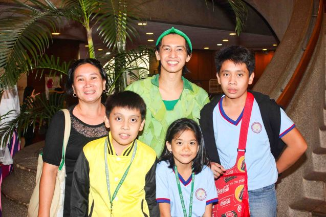Jean Marc Cordero (Peter Pan) poses with young fans. Ballet Philippines' Peter Pan runs from December 4-13, 2015 at the Tanghalang Nicanor Abelardo of the CCP. Photo by Jude Bautista