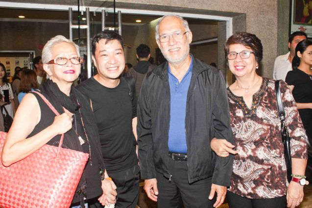from left: Choreographer/ Writer Edna Vida Froilan, Mabining Mandirigma Costume Designer James Reyes and friends. Photo is from Tanghalang Pilipino's MABINING MANDIRIGMA premiere last July 5, 2015 at the CCP's Tanghalang Aurelio Tolentino. Photo by Jude Bautista