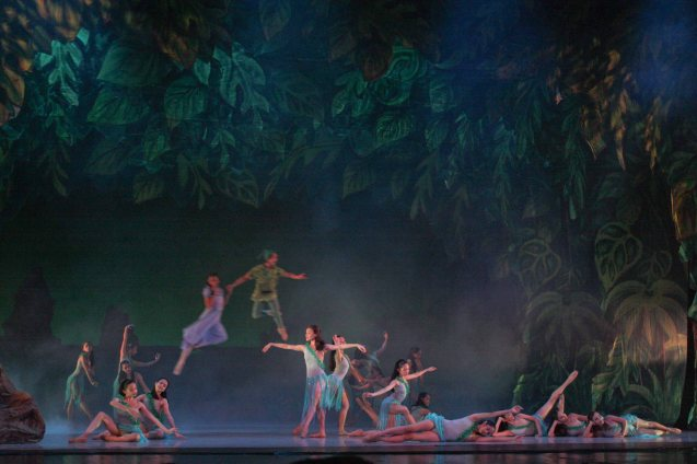 Mermaids frolic in lagoon- costumes & set by National Artist for Theater Salvador Bernal; Ballet Philippines' Peter Pan runs from December 4-13, 2015 at the Tanghalang Nicanor Abelardo of the CCP. Photo by Jude Bautista
