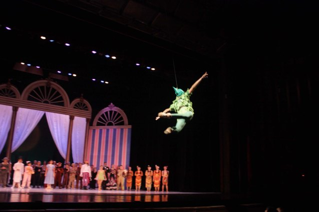 Jean Marc Cordero (Peter Pan) flies over audiences; Ballet Philippines' Peter Pan runs from December 4-13, 2015 at the Tanghalang Nicanor Abelardo of the CCP. Photo by Jude Bautista