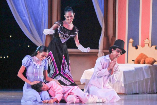 foreground: Rita Angela Winder (Wendy), Daniel Andes (Michael), Victor Maguad (John)with Rhea Bautista (Mother Darling). Ballet Philippines' Peter Pan runs from December 4-13, 2015 at the Tanghalang Nicanor Abelardo of the CCP. Photo by Jude Bautista