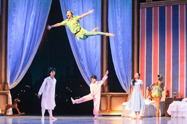Jean Marc Cordero (Peter Pan) amazes kids with his flight. Ballet Philippines' Peter Pan runs from December 4-13, 2015 at the Tanghalang Nicanor Abelardo of the CCP. Photo by Jude Bautista