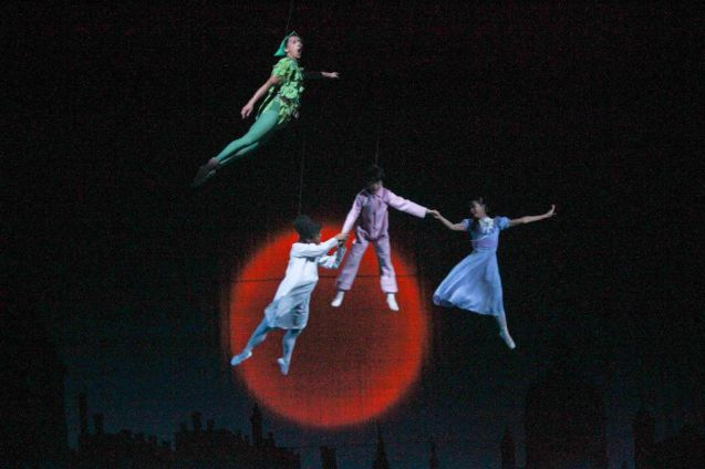 Clockwise from top: Jean Marc Cordero (Peter Pan), Rita Angela Winder (Wendy), Daniel Andes (Michael) & Victor Maguad (John). Ballet Philippines' Peter Pan runs from December 4-13, 2015 at the Tanghalang Nicanor Abelardo of the CCP. Photo by Jude Bautista