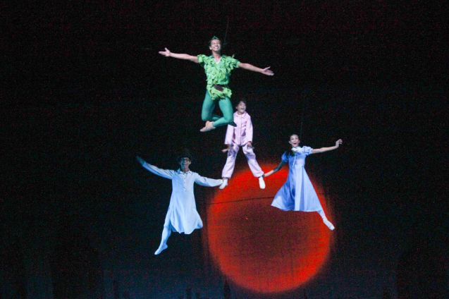 clockwise from top: Jean Marc Cordero (Peter Pan), Victor Maguad (John), Daniel Andes (Michael) & Rita Angela Winder (Wendy). Ballet Philippines' Peter Pan runs from December 4-13, 2015 at the Tanghalang Nicanor Abelardo of the CCP. Photo by Jude Bautista