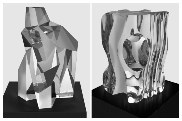 From left: LUCIDITY (37 x 25 x 25cm) & ENTICING CLARITY (30 x 26 x 25) Carved Clear optical glass 2015. CLEAR IMPRESSIONS: AN EXHIBIT OF RECENT CLEAR OPTICAL GLASS runs at the Reflections Gallery, Museo Orlina from November 30, 2015 to January 16, 2016. Contributed photo.