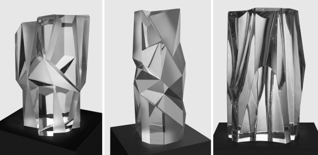 From left: OPTICAL ILLUSIONS (39 x 26 x 26cm) - DAZZLING VIEWS (51 x 20 x 20cm) - LUMINESENCE (41 x 25 x 24cm) Carved Clear optical glass 2015. CLEAR IMPRESSIONS: AN EXHIBIT OF RECENT CLEAR OPTICAL GLASS runs at the Reflections Gallery, Museo Orlina from November 30, 2015 to January 16, 2016. Contributed photo.