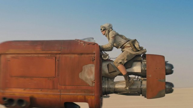 Rey's speeder is capable of carrying cargo. Catch STAR WARS: THE FORCE AWAKENS in Newport Cinemas-Resort's World Manila, EASTWOOD City Mall, Lucky China Town Mall and Shang Rila Plaza mall.