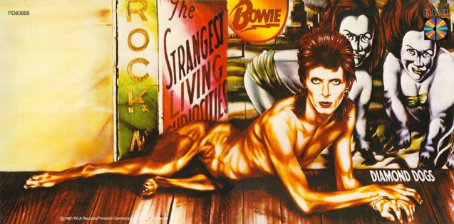 The Diamond Dogs album (1984) was designed by Guy Peellaert - Cover illustration with reference to Bowie photograph by Terry O'Neill