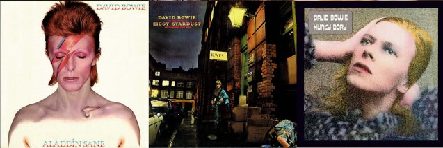 albums from left: Alladin Sane (April 1973), The Rise And Fall Of Ziggy Stardust And The Spiders From Mars (June 1972), Hunky Dory (Dec 1971) http://www.davidbowie.com/sound
